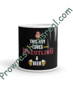 This Guy Loves Wrestling & Beer White glossy mug
