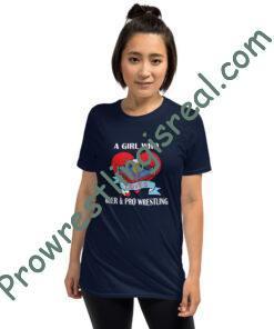 A Girl Who Loves Beer & Pro Wrestling Short-Sleeve Unisex T-Shirt